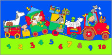 Stampa su plexi-alluminio  tractor train with farm animals and numbers - Fluffy Feelings