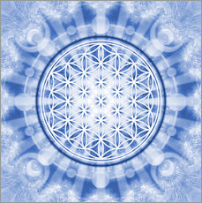 Adesivo murale  flower of life blue - symbol harmony and balance - blue - Lava Lova