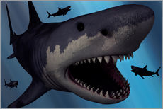 Adesivo murale  A Megalodon shark from the Cenozoic Era - Mark Stevenson