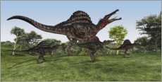 Stampa su plexi-alluminio  Spinosaurus mother with her cubs - Corey Ford