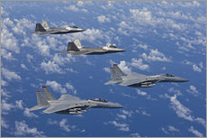 Adesivi murali  Two F-15 Eagles and F-22 - HIGH-G Productions