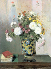 Adesivo murale  Bouquet of Flowers, Chrysanthemums in a Chinese Vase - Camille Pissarro