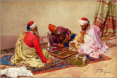 Stampa su plexi-alluminio  The backgammon players - Giulio Rosati