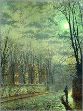 Stampa su plexi-alluminio  Going Home by Moonlight - John Atkinson Grimshaw
