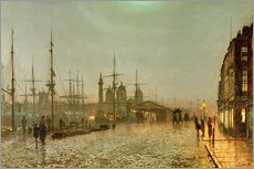 Stampa su plexi-alluminio  Hull Docks by Night - John Atkinson Grimshaw