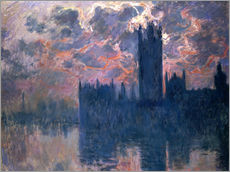 Stampa su plexi-alluminio  Houses of Parliament, Sunset - Claude Monet