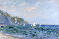 Stampa su plexi-alluminio  Rocks and sailing boats in Pourville - Claude Monet