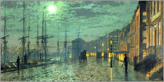 Stampa su plexi-alluminio  City Docks by Moonlight - John Atkinson Grimshaw
