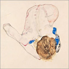 Stampa su plexi-alluminio  Nude with blue stockings - Egon Schiele