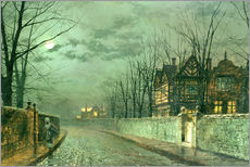 Stampa su plexi-alluminio  Old English House, Moonlight after Rain - John Atkinson Grimshaw