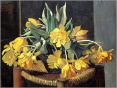 Stampa su plexi-alluminio  Double Yellow Tulips on a Wicker Chair - Felix Edouard Vallotton