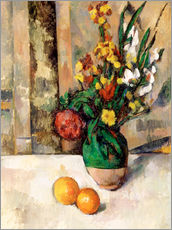 Stampa su plexi-alluminio  Vase and apples - Paul Cézanne