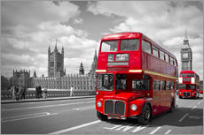 Stampa su plexi-alluminio  Westminster Bridge and Red Buses - Melanie Viola
