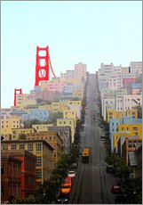 Stampa su plexi-alluminio  San Francisco and Golden Gate Bridgee - John Morris