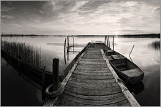 Adesivo murale  Wooden pier on lake with fishing boat - black and white - Frank Herrmann