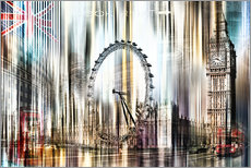Stampa su plexi-alluminio  London Skyline Collage blue Sky - Städtecollagen