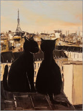 Stampa su plexi-alluminio  Cats on the roofs of Paris - JIEL
