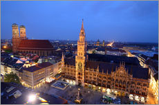Adesivo murale  Church of our Lady and the new town hall in Munich at night - Buellom