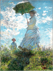 Stampa su alluminio  Woman with a Parasol - Madame Monet and Her Son - Claude Monet