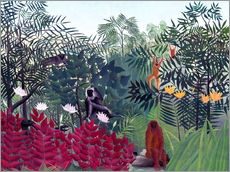 Stampa su plexi-alluminio  Tropical Forest with Monkeys - Henri Rousseau