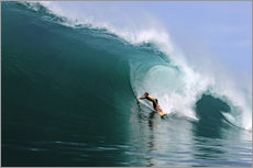 Stampa su plexi-alluminio  Surfing in a huge green wave, tropical island paradise - Paul Kennedy
