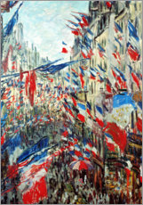 Poster Premium  Rue Montorgueil in Paris in the celebrations at 30 June - Claude Monet