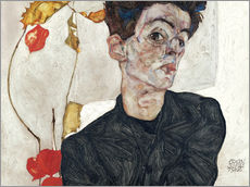 Adesivo murale  Self-Portrait with Chinese Lantern Plant - Egon Schiele