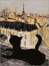 Adesivi murali  Black cat on the roofs of Paris - JIEL