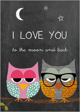 Adesivo murale  Owls - I love you to the moon and back - GreenNest