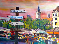 Adesivo murale  Typical Munich Market Scene at Viktualienmarkt - M. Bleichner