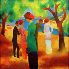Stampa su plexi-alluminio  Lady in a green jacket - August Macke
