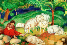 Stampa su tela  Shepherdess with sheep - Franz Marc