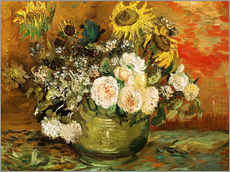 Stampa su plexi-alluminio  Roses and sunflowers - Vincent van Gogh