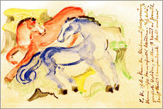 Adesivo murale  Red and Blue Horses - Franz Marc