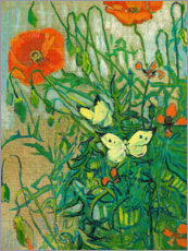 Adesivi murali  Butterflies and Poppies - Vincent van Gogh