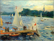Adesivo murale  Sailboats on the Alster Lake in the evening - Max Slevogt