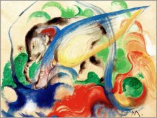 Stampa su legno  Mythical Creature (Grey Elephant) - Franz Marc