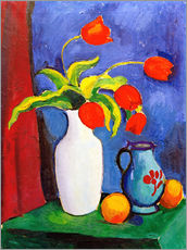 Stampa su plexi-alluminio  Red tulips in white vase - August Macke