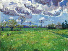 Stampa su tela  Meadow with flowers and leaden sky - Vincent van Gogh