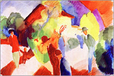 Stampa su plexi-alluminio  Walkers in the park - August Macke