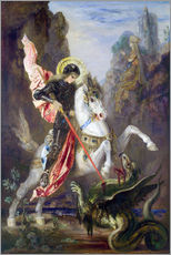 Stampa su plexi-alluminio  St. George and the Dragon - Gustave Moreau