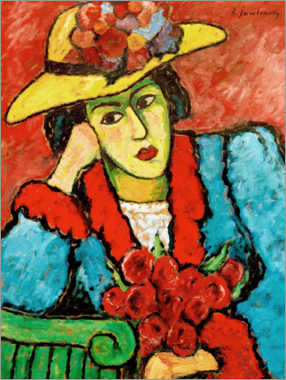 Adesivo murale Lady with yellow straw hat