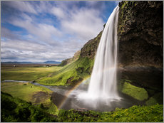 Stampa su plexi-alluminio  Sejalandsfoss Waterfall with Rainbow - Andreas Wonisch