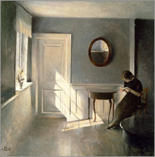 Adesivo murale Girl Reading a Letter in an Interior