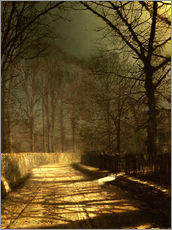 Stampa su plexi-alluminio  A Moonlit Lane, with two lovers by a gate - John Atkinson Grimshaw