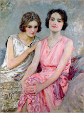Stampa su plexi-alluminio  Two Young Women Seated - William Henry Margetson