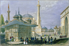 Adesivi murali  Fountain and Square of St. Sophia, Istanbul - William Henry Bartlett