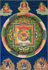 Stampa su plexi-alluminio  Thangka of Mandala of Chakrasamvara in fierce form with red Prajna, Vajravarahi, 19th-20th century - Tibetan School