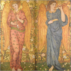 Stampa su plexi-alluminio  Angels with an oboe and a trumpet, 1861-62 - John Roddam Spencer Stanhope