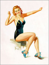 Adesivo murale  Pin Up - Seated Redhead in Swimsuit - Al Buell